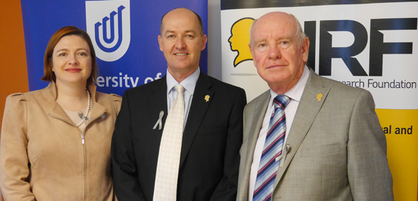 From left: UniSA Deputy Vice Chancellor Research and Innovation, Professor Tanya Monro,UniSA's leading brain cancer researcher, Professor Stuart Pitson and Vice President NRF Dr Glenn McCulloch
