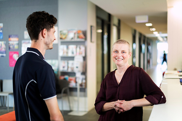 Dr Katia Ferrar at the City West Health and Medical Clinic with Physiotherapy student Blake Palmer.