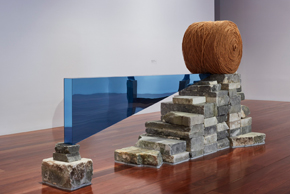 Louise HASELTON, Neither improvement nor decline, 2019, Mount Gambier limestone, mirrored Perspex, sisal, installation view, Samstag Museum of Art. IMAGE Sam Noonan