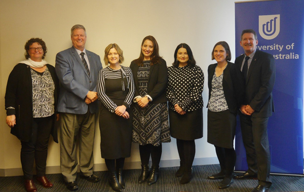 From left to right: NRF Secretary & Executive Officer Ginta Orchard, NRF President Professor Bob Vink, JDRF Executive Director Kerry de Lorme, Associate Professor Renee Turner, JDRF Grants Manager Kiah Elsworthy, Dr Frances Corrigan, and UniSA Pro Vice Chancellor: Health Sciences Professor Roger Eston at the official project  launch, 19 August.