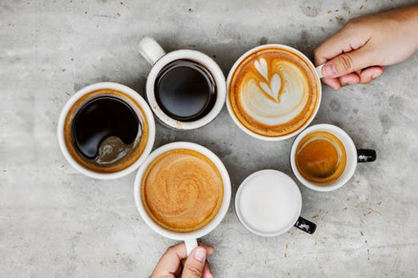 Six different types of cafe style coffee