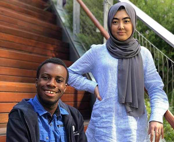 Peer Support Officers Shakila Orozgani and Alphanso Sayee