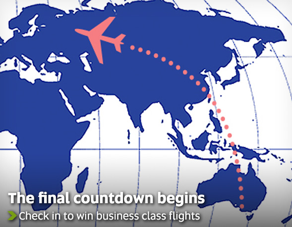 The final countdown begins - check in to win business class flights