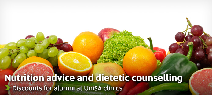 Nutrition advice and dietetic counselling - Discounts for alumni at UniSA clinics